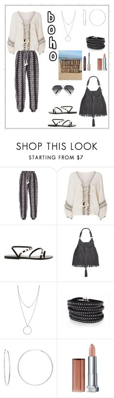 """""""Your Vibe Attracts Your Tribe"""" by rboowybe ❤ liked on Polyvore featuring Cool Change, Ancient Greek Sandals, Sam Edelman, Botkier, Sif Jakobs Jewellery, Sterling Essentials and Maybelline"""