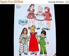 SALE 25% Off 1970s Toddler Dress Pattern size 4 UNCUT Toddler Girl Pinafore Dress, Pinafore Sundress, Pants Vintage Sewing Pattern 70s