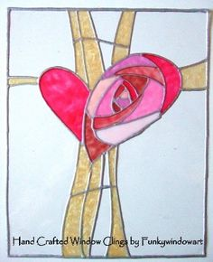 Mackintosh Style Rose Heart Static Window Clings
