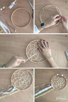 hacer un atrapasueños Aprende a hacer un atrapasueños perfecto para decorar boda o para regalar.Aprende a hacer un atrapasueños perfecto para decorar boda o para regalar. Home Crafts, Diy And Crafts, Kids Crafts, Diy Dream Catcher Tutorial, Dream Catcher Craft, Making Dream Catchers, Dream Catcher Boho, Crochet Dreamcatcher, Creation Deco