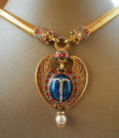 BEREBI LARGE EGYPTIAN REVIVAL WINGED SCARAB ENAMEL NECKLACE