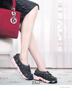 Dior's Fall Accessories Revisited–After releasing its ready-to-wear campaign this season, Dior showcases its handbags and shoes with its fall-winter Dior Sneakers, Dress With Sneakers, Sneakers Fashion, Ellie Saab, Dior Fashion, Fashion Brands, Sac Lady Dior, Dior 2014, Velvet Slippers