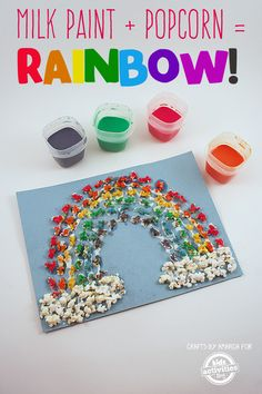 Make this easy, edible milk paint and use it to create a popcorn rainbow! This is a craft your kids can eat!