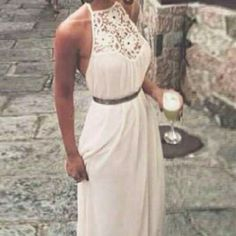 💋White💕 Maxi dress NWOT With crocheted/lace top. Very elegant and fashion! Small/medium. No belt. Dresses Maxi