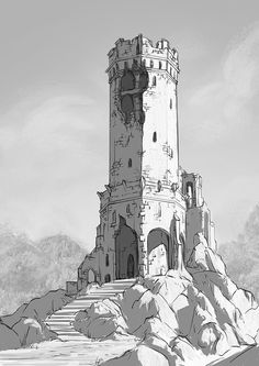 Old tower, Bogna Gawrońska on ArtStation at https://www.artstation.com/artwork/b0z2o