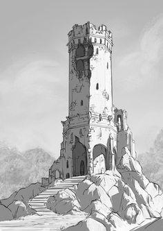 Old tower, Bogna Gawrońska on ArtStation at www. - Old tower, Bogna Gawrońska on ArtStation at www. Fantasy City, Fantasy Castle, Fantasy Map, Medieval Fantasy, Medieval Tower, Architecture Design Concept, Architecture Portfolio, Landscape Architecture, Gothic Architecture