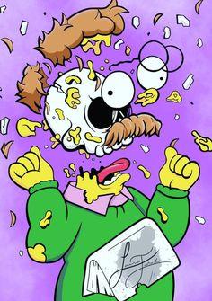 Deconstructive Pop Artist Matt Gondek Makes Art Explode - gestalten Simpson Wallpaper Iphone, Trippy Wallpaper, Cartoon Wallpaper, Simpsons Drawings, Simpsons Art, Dope Cartoons, Dope Cartoon Art, Ned Flanders, Image Deco