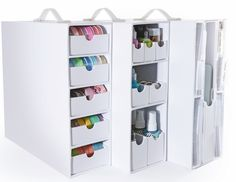 Stash and Store Cases from Totally-Tiffany. I am SO getting these. They actually fit in the Ikea Expedit shelving units.