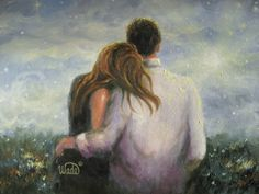 Loving Couple Print, couples in love, lovers, prints, romance, hugging, marriage, friendship, Vickie Wade Art. $26.00, via Etsy.