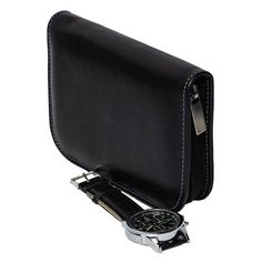 1f51aa3a0b5 DiLoro Italian Leather Black Zippered Travel Watch Case for 4 Watches Made  in Italy - Side
