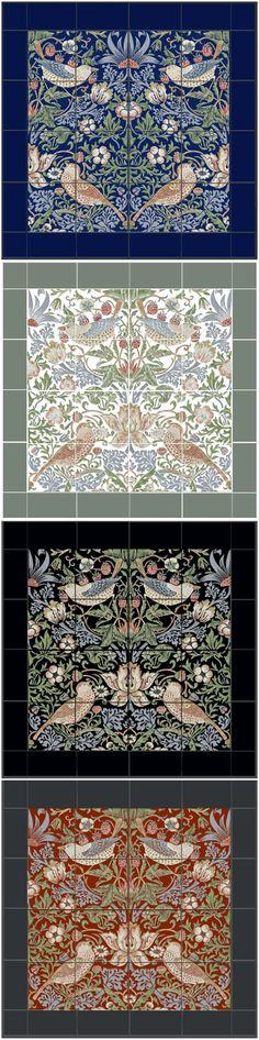 William Morris Strawberry Thief Backsplash and Border Tiles The Strawberry Thief, Border Tiles, Small Tiles, Tile Stores, Pre Raphaelite, Marble Mosaic, Glazed Ceramic, William Morris, Nice Things