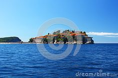 Photo about View from the sea over the old buildings of the Sveti Stefan - Saint Stephen small island from Montenegro. Image of saint, construction, hotel - 92517374 Saint Stephen, Small Island, Old Buildings, Montenegro, Saints, Old Things, Construction, Sea, Stock Photos