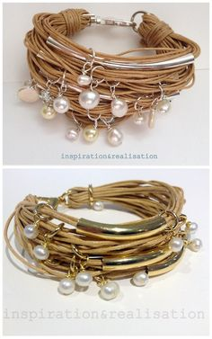 DIY Cords, Tubes & Pearls Bracelets Tutorials from inspiration & realisation. Donatella has just posted a simplified version of her pearls and tubes bracelet.  Top Photo: Original Cords,Tubes & Pearls Bracelet from inspiration & realisation I posted here.  Bottom Photo: Simplified Version of the Cords, Tubes & Pearls Bracelet Tutorial from inspiration & realisation here.