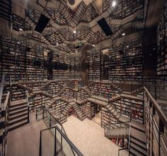 Straight out of Inception or the grand staircase from 'Hogwarts Castle' in the Harry Potter series is a whimsical, mind-tripping bookstore in China. Zhongshuge Bookstore in Chongqing city has an interior that's the stuff of … Art Optical, Optical Illusions, Escher Paintings, Shanghai, Dream Library, Glass Railing, World Of Fantasy, Unique Buildings, Grand Staircase
