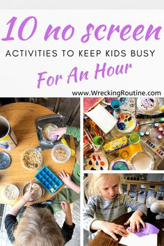 These 10 easy no screen activities are perfect to keep the kids busy when you need to work from home. They take no prep work and will keep kids quiet and entertained for at least an hour so you can get some work done.