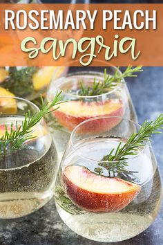 Rosemary Peach Sangria - A sweet, tart and refreshing white wine sangria with fresh peaches and rosemary. White Peach Sangria, White Wine Spritzer, Smoothie Recipes, Smoothies, Wine Making Kits, Wine Refrigerator, Refreshing Drinks, Beverages, Cooking