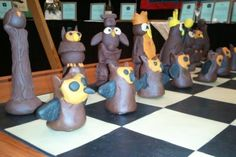 Fimo Chess Set - each student makes their own chess piece, sold as a set with a hand painted board. (Site also links to good theme ideas)