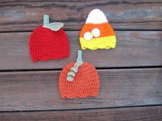 2 dollars flat-rate standard shipping Free shipping.Crochet pumpkin apple and candy corn beanie,fall baby hat,Newborn baby girl costume hat by Etvy on Etsy