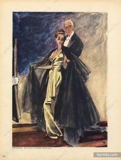 Pierre Balmain Couture — Images and vintage original prints Pierre Balmain, 1940s Fashion, Vintage Fashion, Vintage Style, Magazine Mode, Dress Drawing, French Fashion Designers, Illustrations, Art