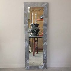 """Naturally Patinated Zinc Wrapped Mirror. This is an RT Facts original design and can be built to suit custom measurements.  71.5""""l x 40""""d x 30""""h  $2800"""