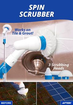 Spin Scrubber. Does The Work for You! No More Scrubbing or Rubbing. Works without harsh or abrasive chemicals.