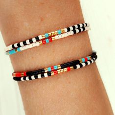 Beaded Bracelet, layering bracelet ,charm bracelet, boho jewelry, boho bracelet, seed bead bracelet, tribal bracelet, stackable bracelet, gifts for her, friendship bracelet , wrap bracelet  ✴✴✴ FREE SHIPPING WORLDWIDE ✴✴✴  Details: - Miyuki delica glass beads... Each bead measures 2.2mm outer diameter. - Linhasita waxed polyester cord 1mm, waterproof  These beaded bracelets are very fine and delicate, perfect for stacking but also cute on their own. Combine them to fit your personal style…