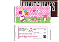 Hello Kitty Birthday Candy Bar Wrappers