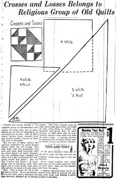 In the Denver Post, a beautiful series of patchwork quilt designs was published in The Crosses and Losses pattern was the block in the quilt. Vintage Quilts Patterns, Quilt Square Patterns, Patchwork Patterns, Pattern Blocks, Square Quilt, Quilting Patterns, Sewing Patterns, Quilting Templates, Quilting Tips