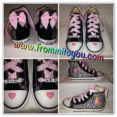Embellished canvas shoes #pink #bling #rhinestones #bow #bows #custom #custommade #polkadot #mylittlepony #shoe #girl #journey #horse #frommitoyou