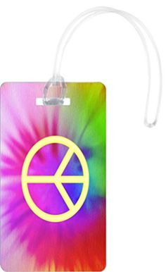Rikki Knight Yellow Peace Logo on Color Design Flexi Luggage Tags  Premium Quality Plastic ID Card Tags  Great for Travel Set of 2 * You can get additional details at the image link.Note:It is affiliate link to Amazon.