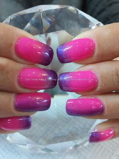 gel polish ombre fade , 50 and 49 over acrylic nails