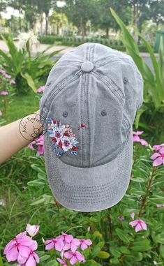 America Ice Cream Hat Hand Embroidered Floral Denim Cap   Etsy Cream Hats, Denim Cap, Floral Denim, Happy Independence Day, Meaningful Gifts, Cotton Thread, Hand Embroidery, Baseball Hats, Flag
