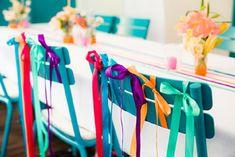 rainbow ribbons chair decor