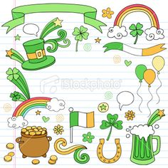 St Patricks Day Doodles Icons Vector Set Royalty Free Stock Vector Art Illustration