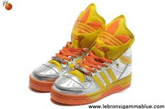 Buy Latest Listing Adidas X Jeremy Scott Big Tongue Shoes Silver Yellow Sports Shoes Shop