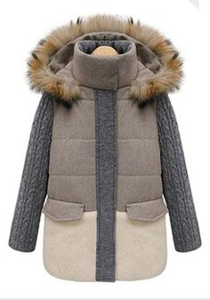 Light Khaki Patchwork Thick Cotton Blend Padded Coat