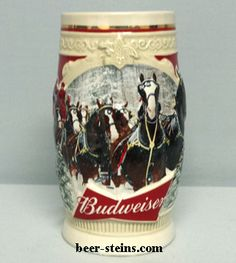 Budweiser steins stein holiday beer steins from 1980 to Present Budweiser Steins, Beer Company, Lager Beer, Beer Stein, Clydesdale, Rose Wallpaper, Red Band, Vintage Dolls, Brewery