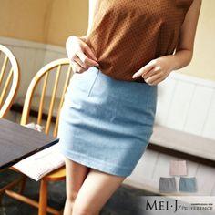 窄裙氣質小女人丹寧布短窄裙小美日系