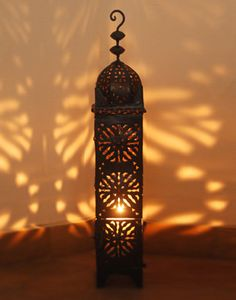 Tall Black Moroccan Candle Lantern