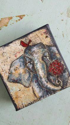 Begonia 4x4 Original Mixed Media Elephant by AllisonWeeksThomas #elephant #art #gift #etsy