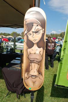 Nice art on a skate board deck, Hotrod Journal Car Show, Pimlico Sep 2012. Wish I could draw like that. Dang!
