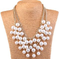 Elegant Women's Multi-layer Torsade Fringe White Simulated Pearl Chain Statement Necklace Pendant Women Jewelry for Gift Party Multi Strand Pearl Necklace, Pearl Statement Necklace, White Pearl Necklace, Pearl Chain, Pearl Pendant, Pendant Necklace, Cheap Necklaces, Jewelry Necklaces, Pearl Necklaces