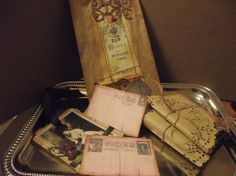 Two Sewed Mini Journals Two Post Cards And Embellished by mslizz