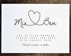 PRINTABLE Save the Date PDF - Personalised Simple Calligraphy Heart Wedding Save…