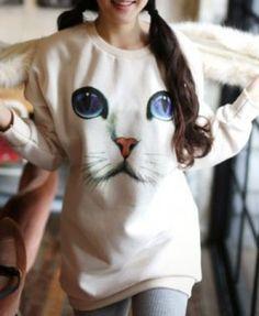 Cat Face Print Longline Sweatshirt - Sweatshirts & Hoodies - Clothing