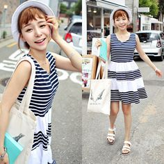 Qnigirls New Womens Rollipop Candy Doll Striped Sheath Dress Cute Lovely Style #Qnigirls #Sheath #Casual