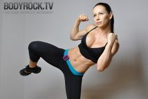 Bodyrock.tv---best site ever for working out at home. Will kick your booty, and plenty of straight up bodyweight exercises you need no equipment for.