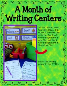 Writing - Easy Set Up for a Month - keep all of the month's word cards in the pocket at the bottom of the pocket chart. All you need to do is make copies of the 2 assignments each week. It is a quick and easy center to set up. There is a month's worth of centers in this packet. paid