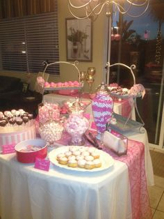 """Our next-door neighbors invited us to a """"pink party"""" in celebration of the wife being breast cancer-free for five years. I couldn't resist taking a picture of this luscious dessert table."""