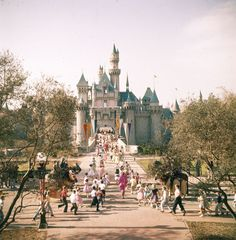 Guests running towards Sleeping Beauty Castle.